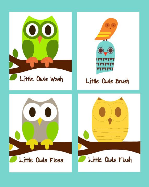 Bathroom Rules Owls Set Of X Owl Prints By ThePrintedOwl - Owl bathroom decor set for small bathroom ideas