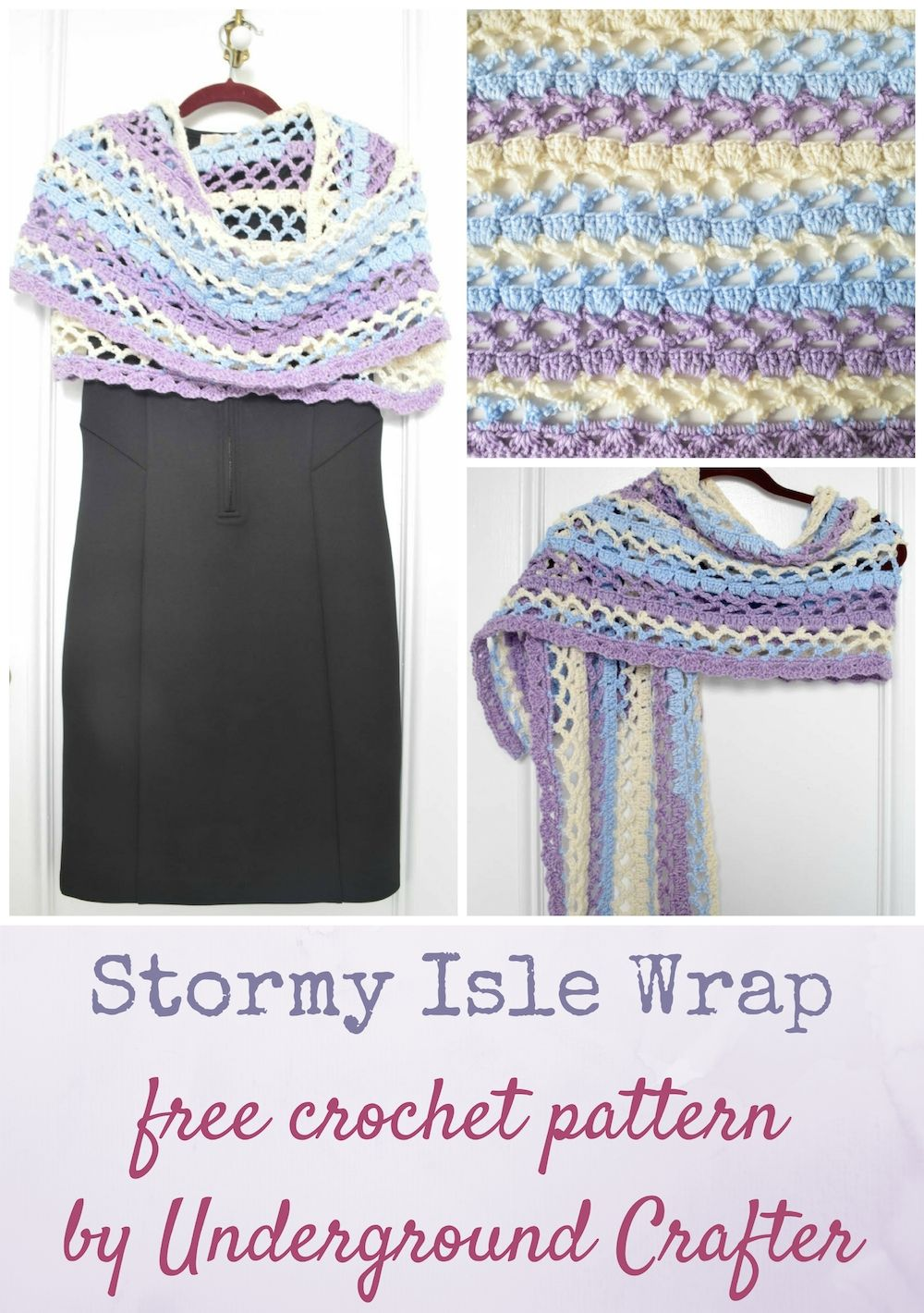 Stormy Isle Wrap, free crochet pattern in Premier Yarns Sweet Roll yarn by Underground Crafter | A simple stitch pattern combined with a self-striping yarn creates a stunning, lacy rectangular shawl. Keep your shoulders warm while adding color to any outfit.