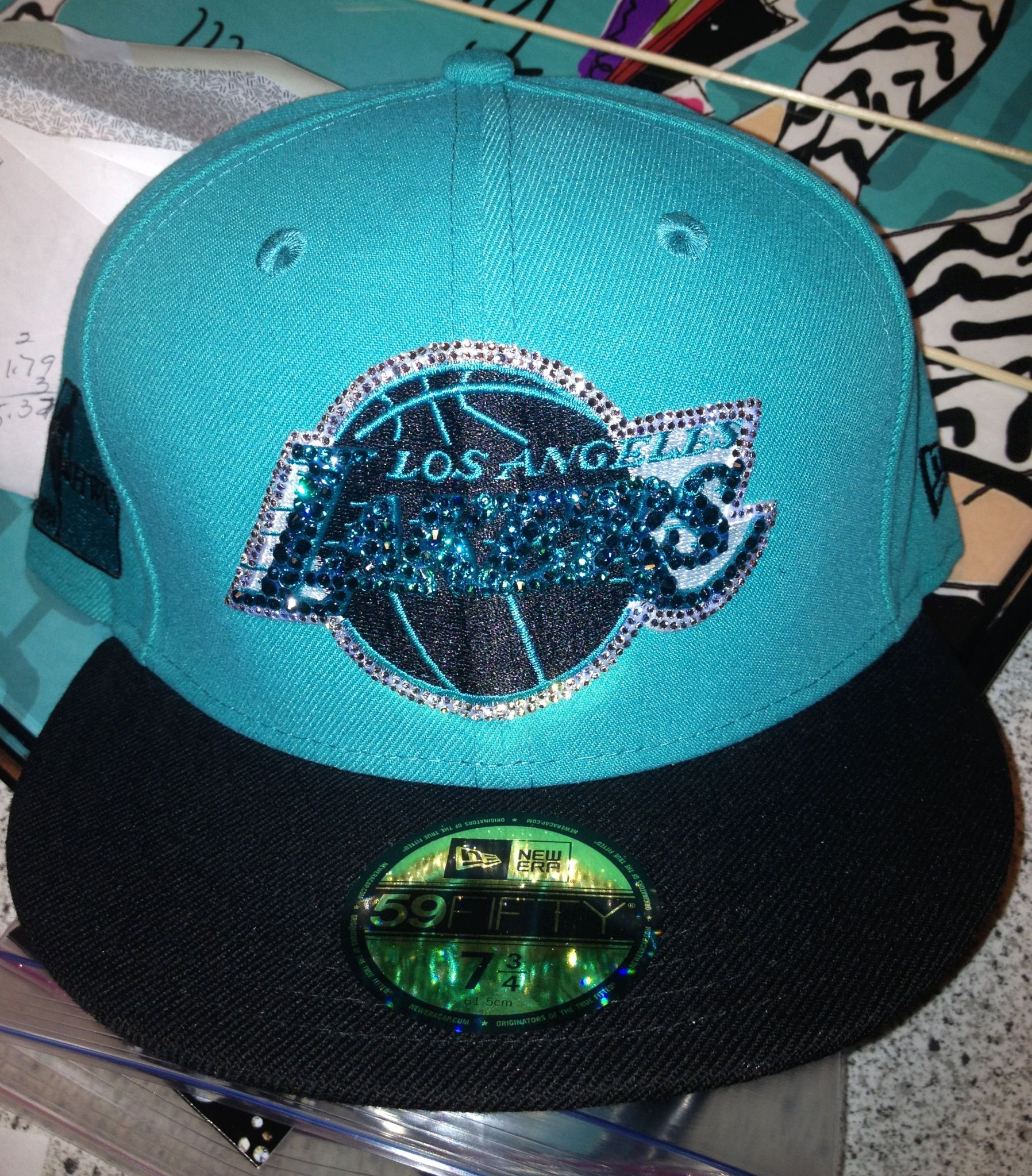 Custom Swarovski crystal Lakers Flat Bill hat  | LA Lakers