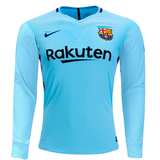 17 18 Barcelona Long Sleeve Away Soccer Jersey  6253ed8cc