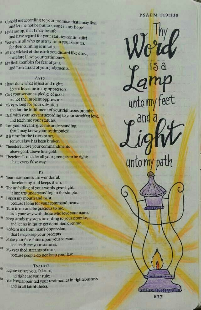 Thy Word is a Lamp Unto my feet - Bible art journaling by