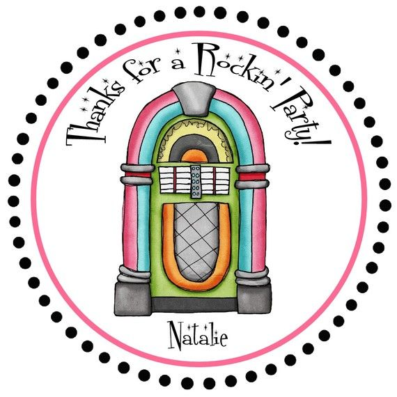 Fifties Jukebox Birthday Party Favor Tags  by PhotoGreetings
