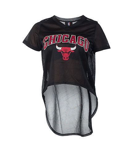 68a69db95ca99 NBA 4 HER Cropped Chicago Bulls hi-low top Mesh fabric Short sleeves CHICAGO  on front with bull Lightweight