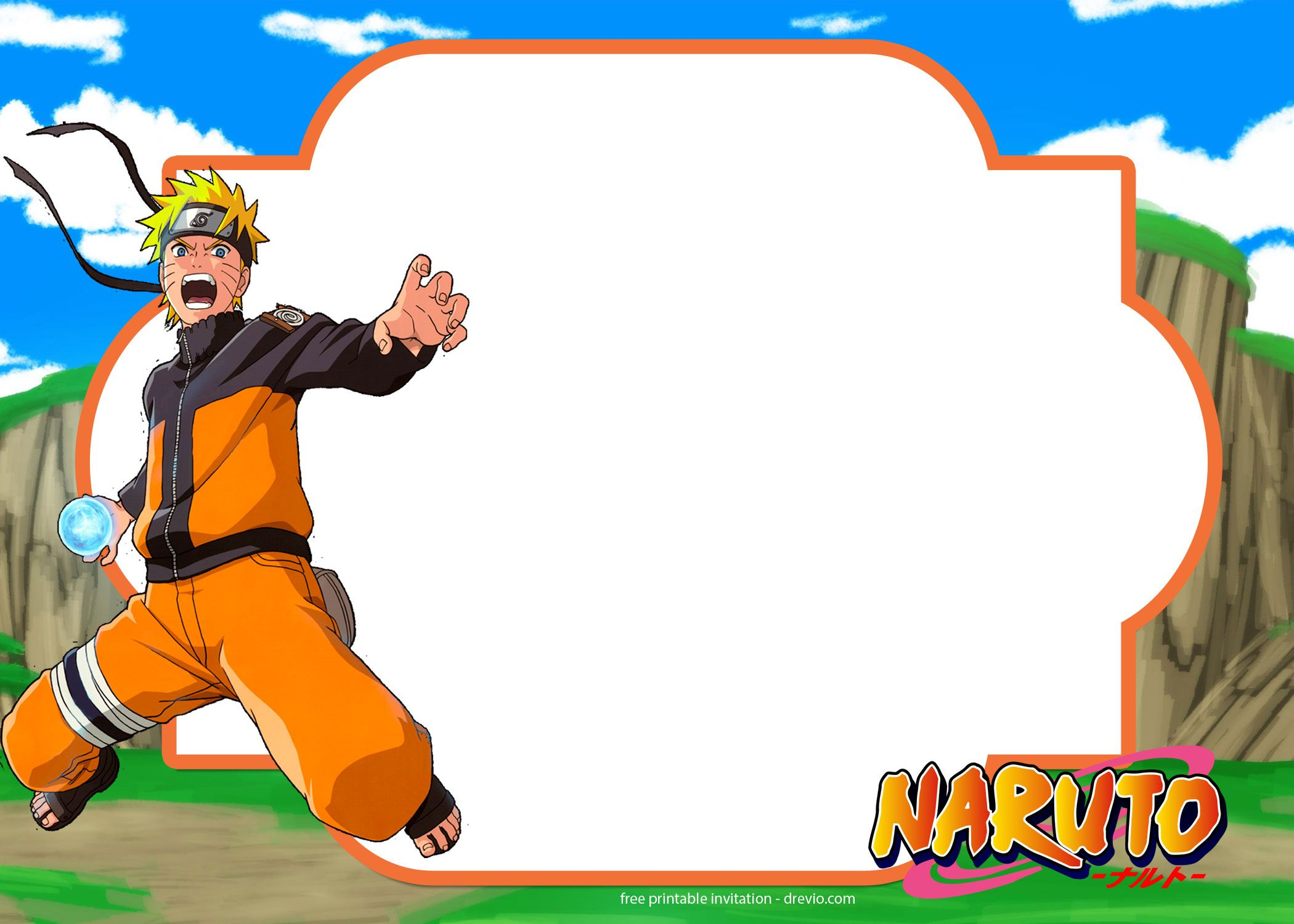 Nice Free Printable Naruto Birthday Invitation Template