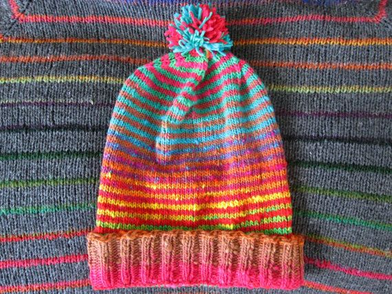 Knit Slouchy Noro Hat Bright Rainbow Stripes by SpacerobotStudio