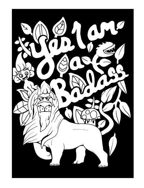 Badass - Adult Coloring page - swear. Get 14 FREE printable coloring ...