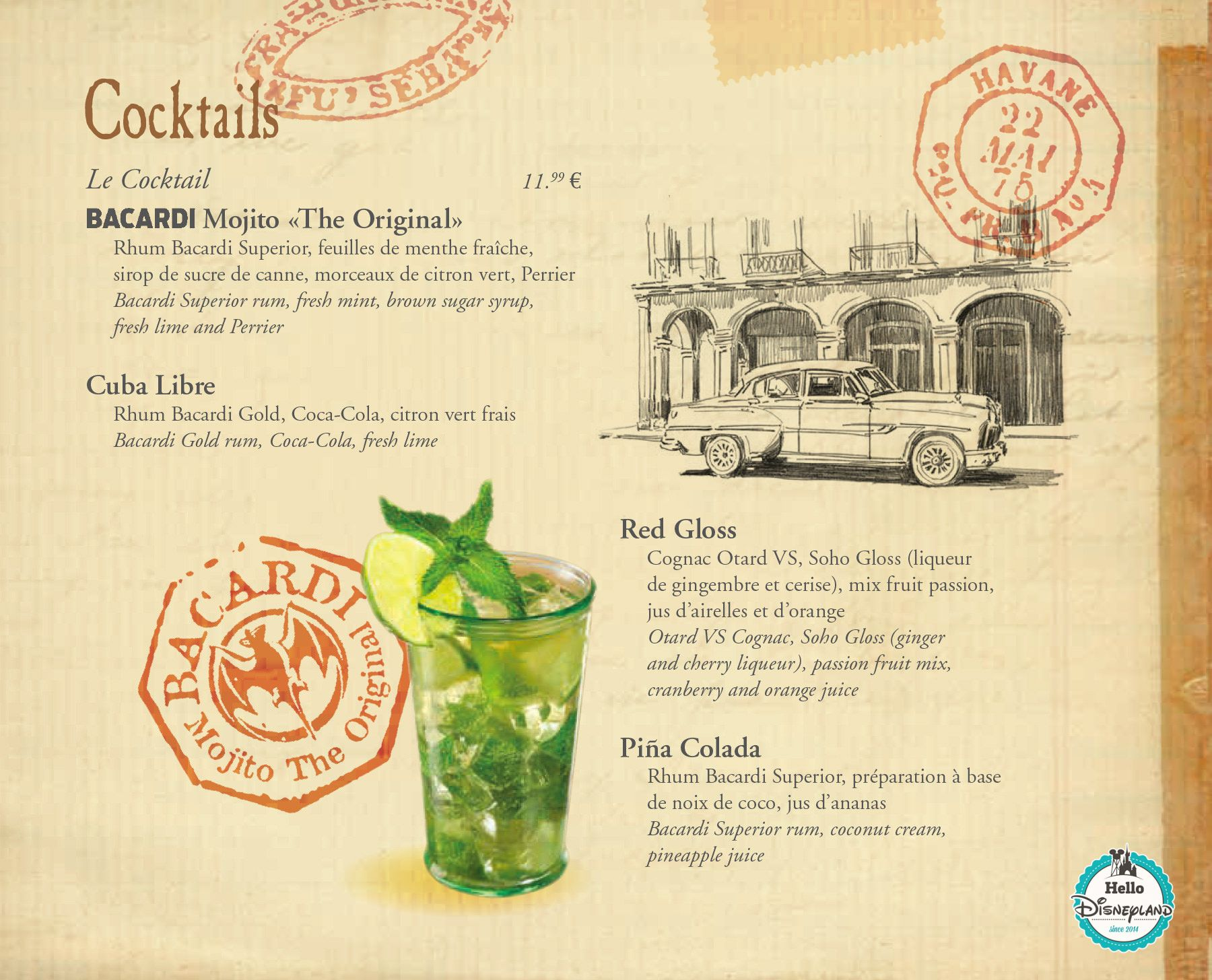 Carte des cocktails bar