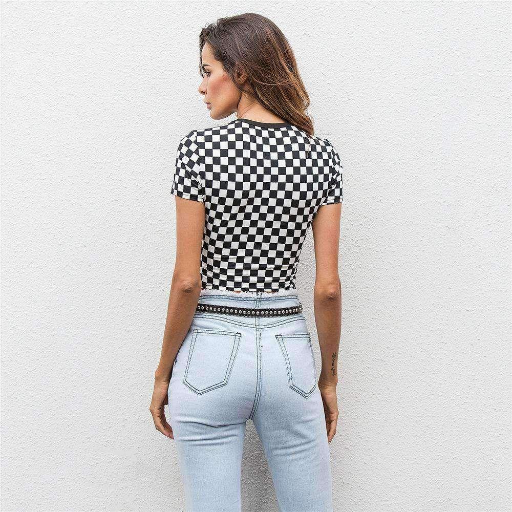 6c021c97c6d94 Black White Checker Print Crop Top – Lupsona