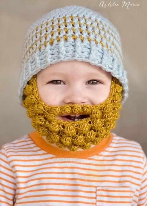 babies look sooo cute in bobble bearded beanies, free pattern | Arts ...