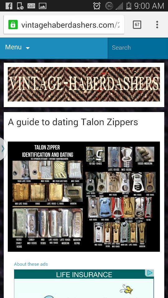 Talon Zipper 1950s Modern Vintage Zipper