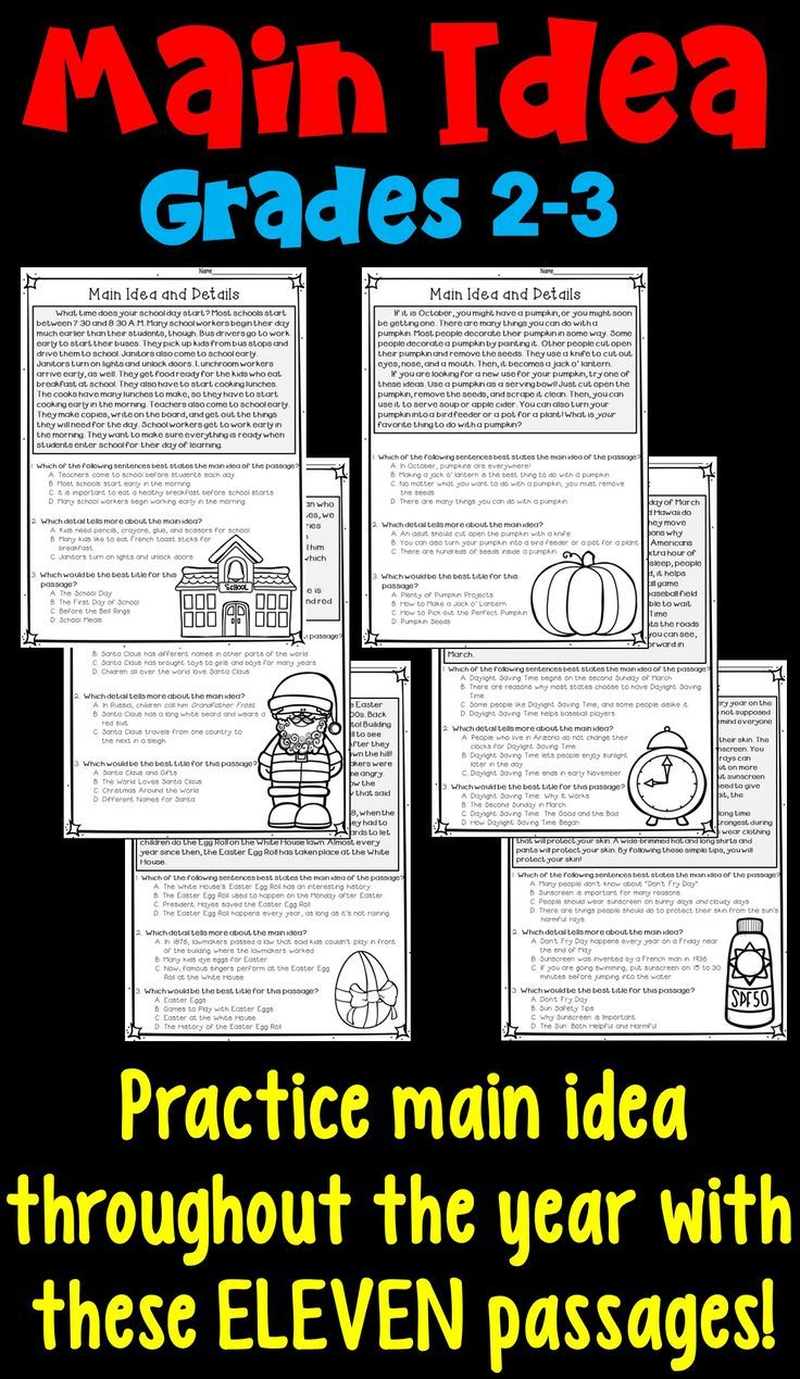 worksheet 2nd Grade Main Idea Worksheets main idea and supporting details 11 monthly worksheets for 2nd 3rd grade spiral practice