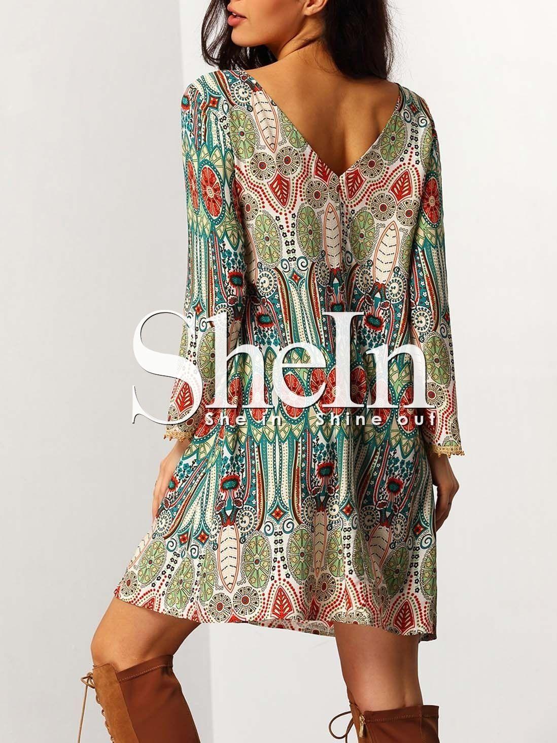 Kleid mit Aztec Druck- German SheIn(Sheinside)  Mode  Mini shirt