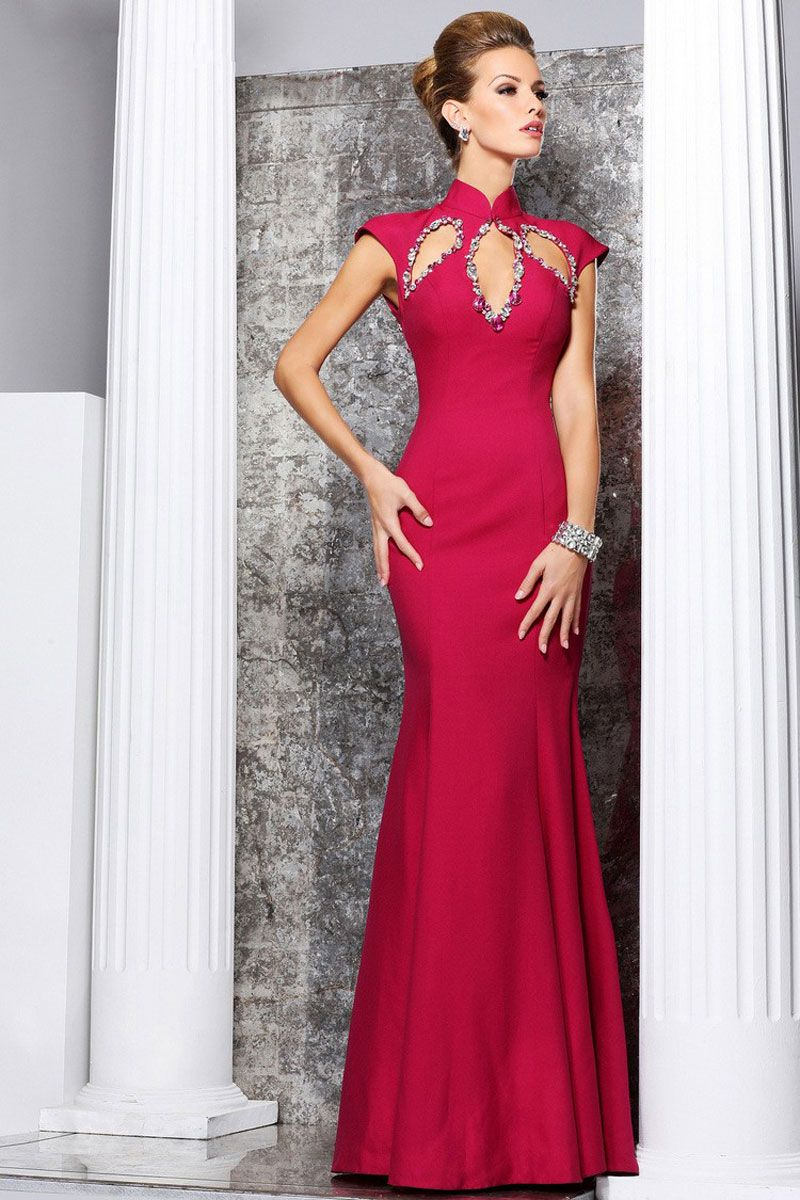 Long empire silk cap sleeve column high neck prom dress formalwear