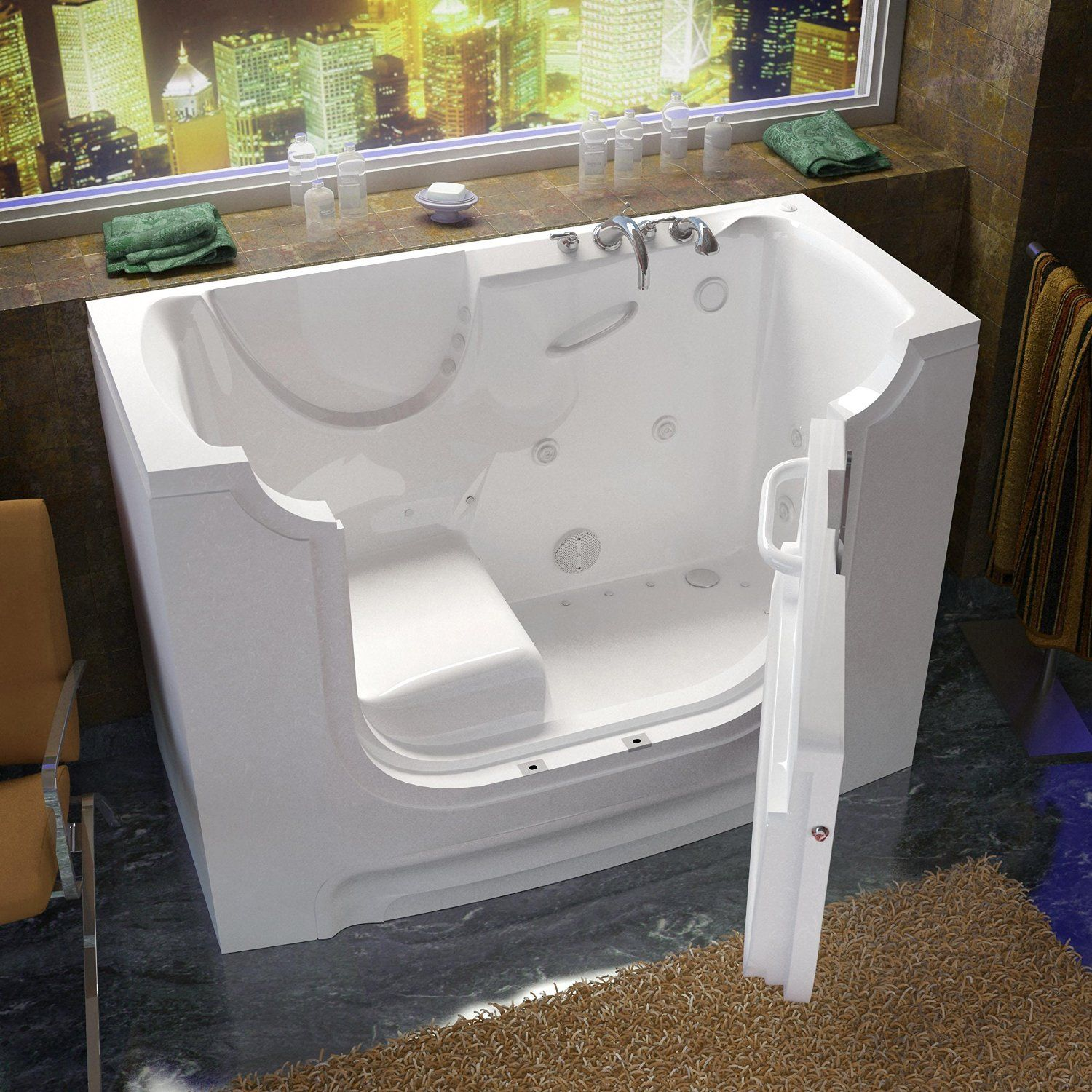 Venzi Bathing 30x60 Right Drain White Whirlpool & Air Jetted ...