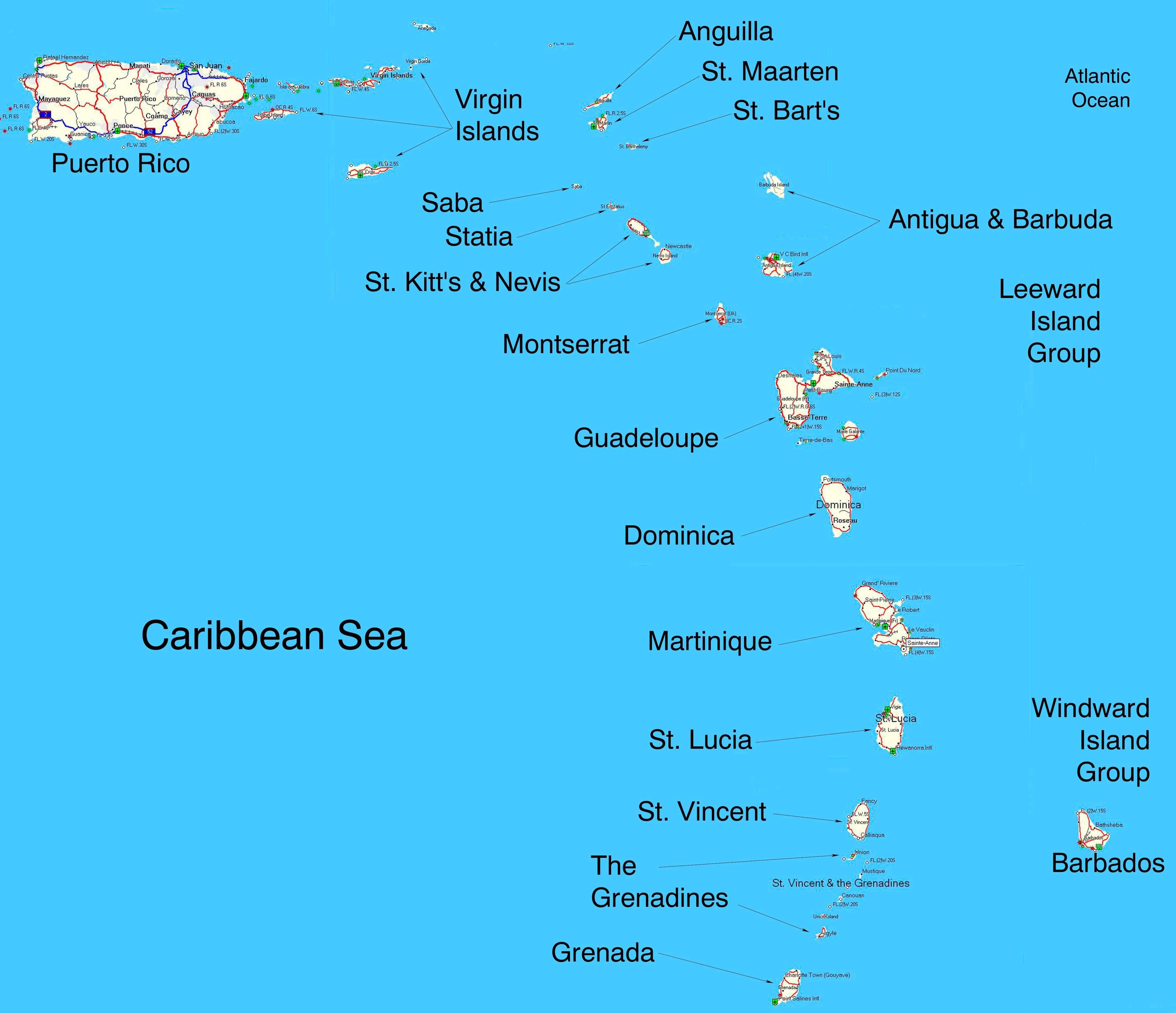Map Of Eastern Caribbean Map of the Eastern Caribbean Islands | Tuchman Beaches Guide  Map Of Eastern Caribbean