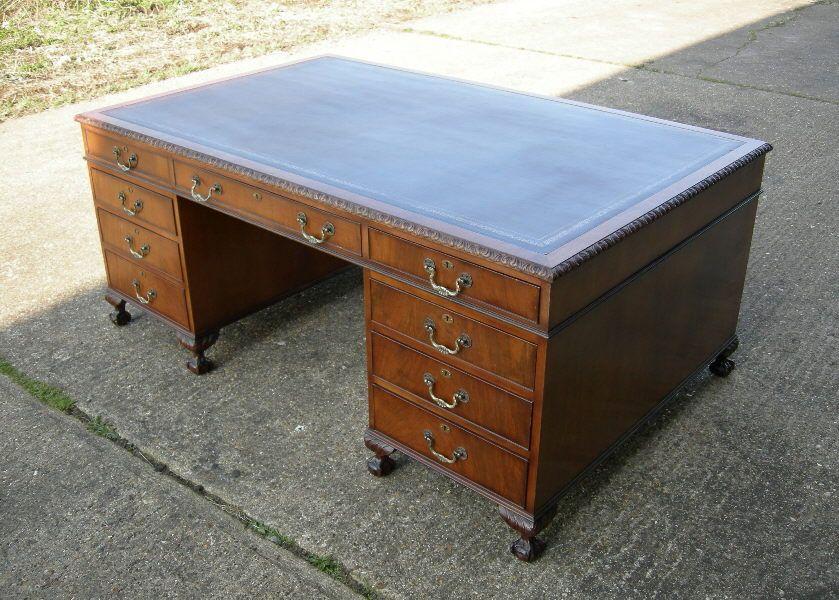 Large Antique Partners Desk - Huge 6ft By 4ft Chippendale Revival Walnut  Partners Desk With Leather Top - Large Antique Partners Desk - Huge 6ft By 4ft Chippendale Revival