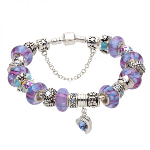 Bratara dama Purple Murano Pandora Style AS11