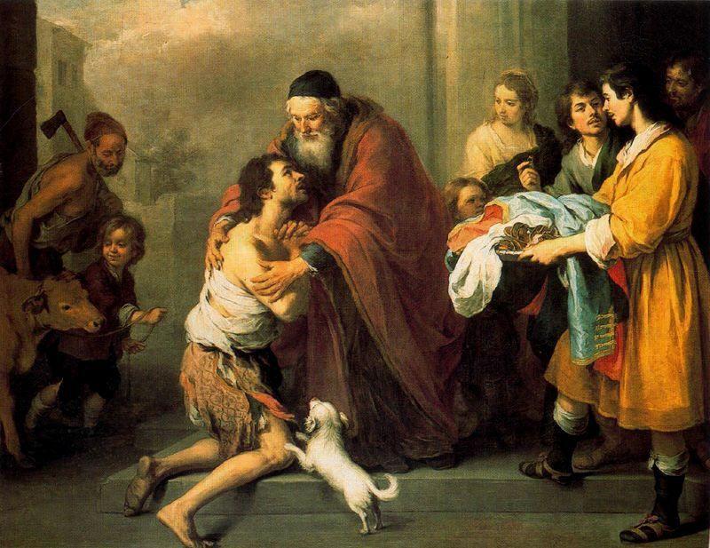 """murillo """"regreso del hijo pródigo"""" - Bartolomé Esteban Murillo (Sevilla, 1617 - Sevilla 1682) was een Spaans kunstschilder die veel religieuze werken schilderde, waarbij hij vooral vreedzame scènes uitbeeldde. Behalve in zijn thuisstad Sevilla was hij ook bekend in Engeland en elders in Europa.  De schilderstijl van Murillo behoort tot de Barok. Zijn werken, mn Madonna's, kenmerken zich door een wat zoete sfeer, waarmee hij tot in de negentiende eeuw werd nagevolgd."""