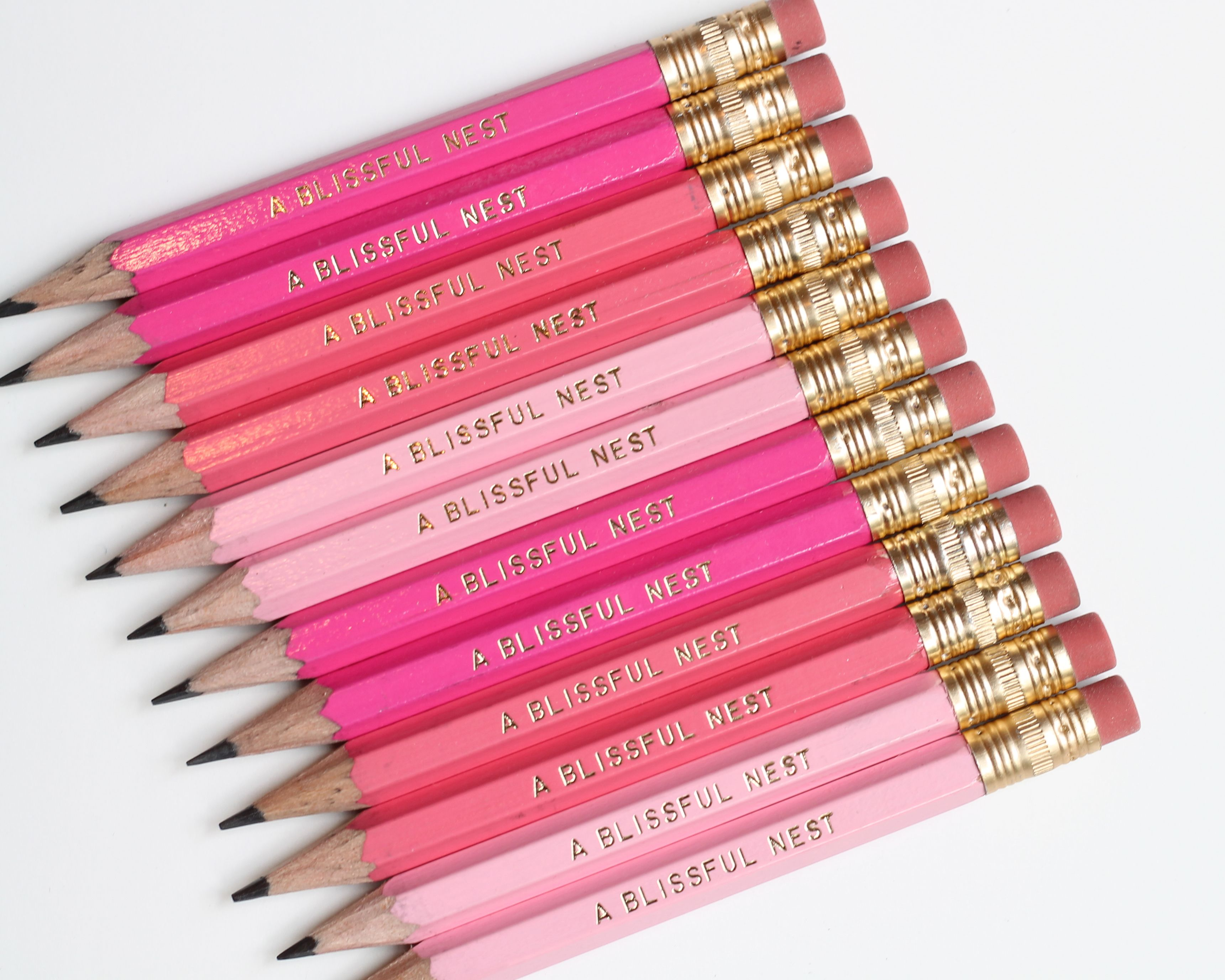 pick your text mini golf pencils in shades of pink by a blissful