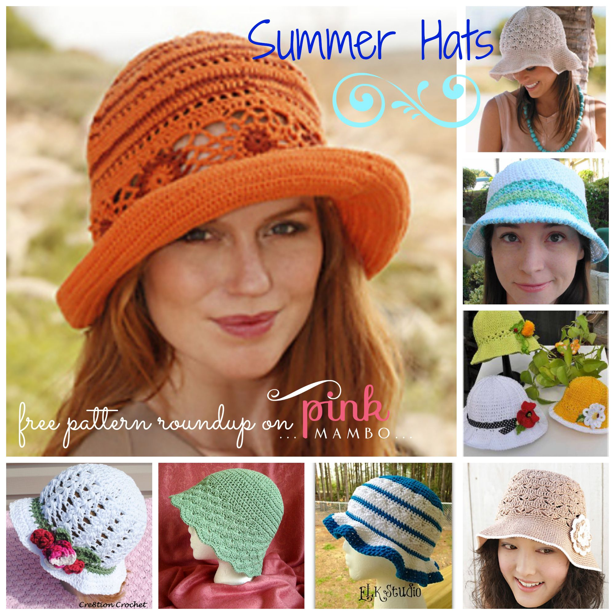 Crochet Summer Hats 8 Free Patterns! | diy | Pinterest | Sonne ...
