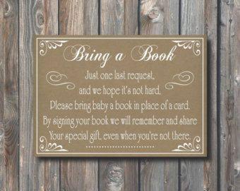PRINTABLE Bring a Book Instead of a Card by HappyFiestaDesign