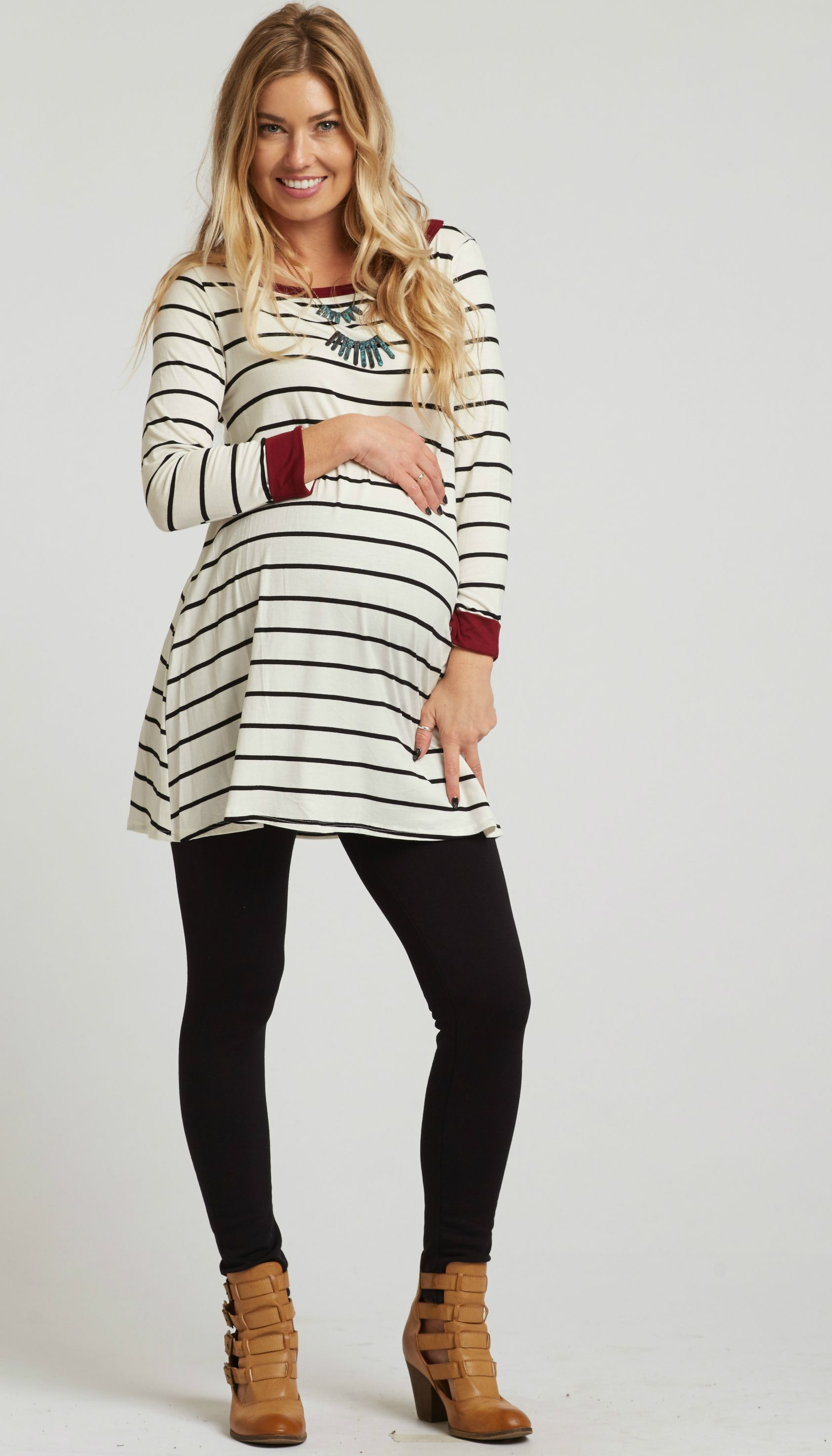 368a8086456 This gorgeous striped cuff sleeve maternity tunic is perfect for when you  want a simple,