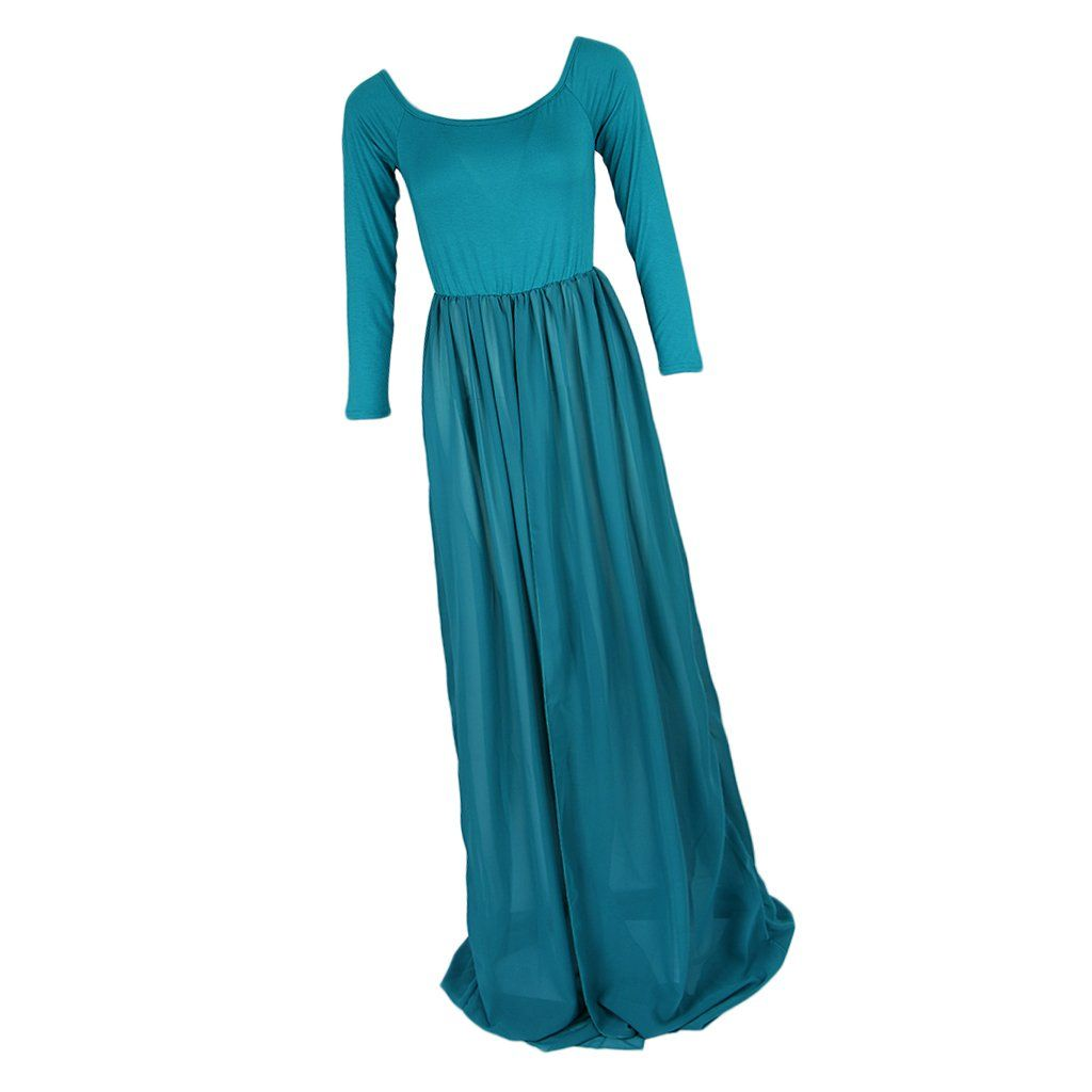 358f8237ff Women Maternity Clothes - Homyl Grace Pregnant Womens Gown Long Sleeve  Maternity Stretch Maxi Dress Baby Shower Gown Green One Size     More info  could be ...
