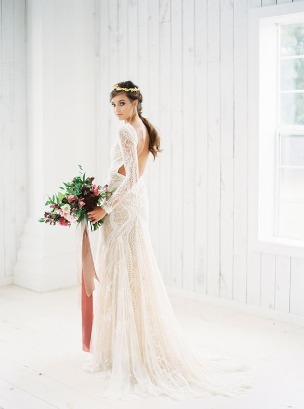 Romantic Long Sleeve Lace Wedding Dress with an Open Back | Taylor Lord…