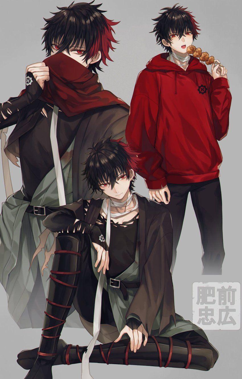 Safebooru 1boy Abandon Ranka Arm Rest Bandage Bandaged Neck Bangs Belt Belt Buckle Black Belt Black Hair Black Pan Cool Anime Guys Dark Anime Guys Dark Anime