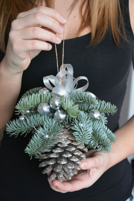 large pine cone christmas ornament pine cone by flowerinasdecor more - Decorating Large Pine Cones For Christmas