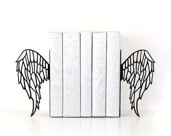 Book ends Boho decor Feather bookends Free spirit Metal