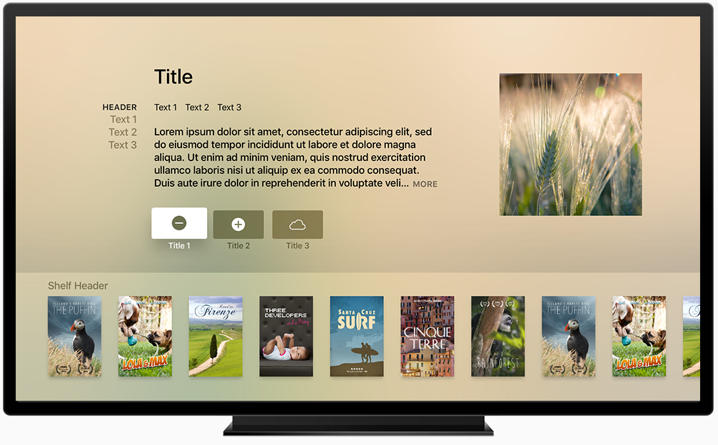 UI Guidelines for tvOS Product Template on Apple TV 모바일