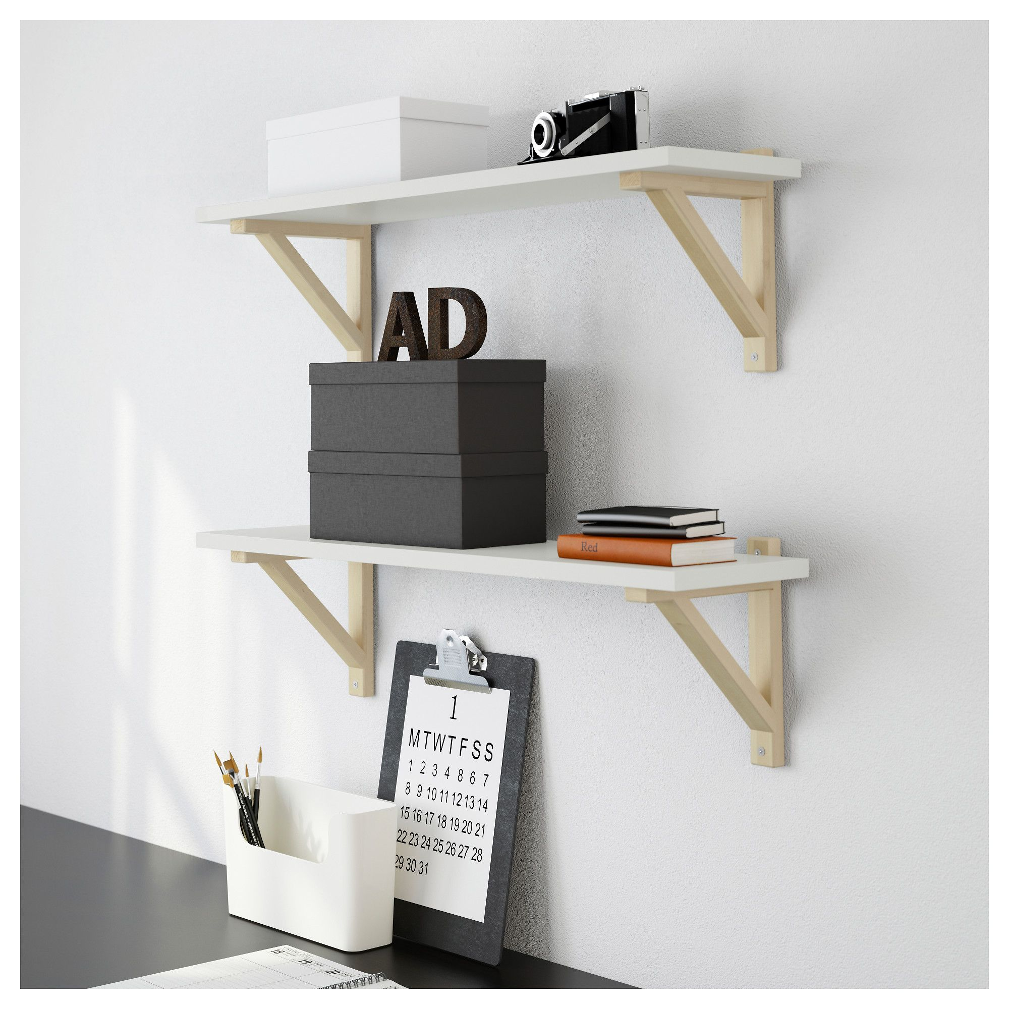 ekby valterekby sten wall shelf whitebirch 79x19 cm