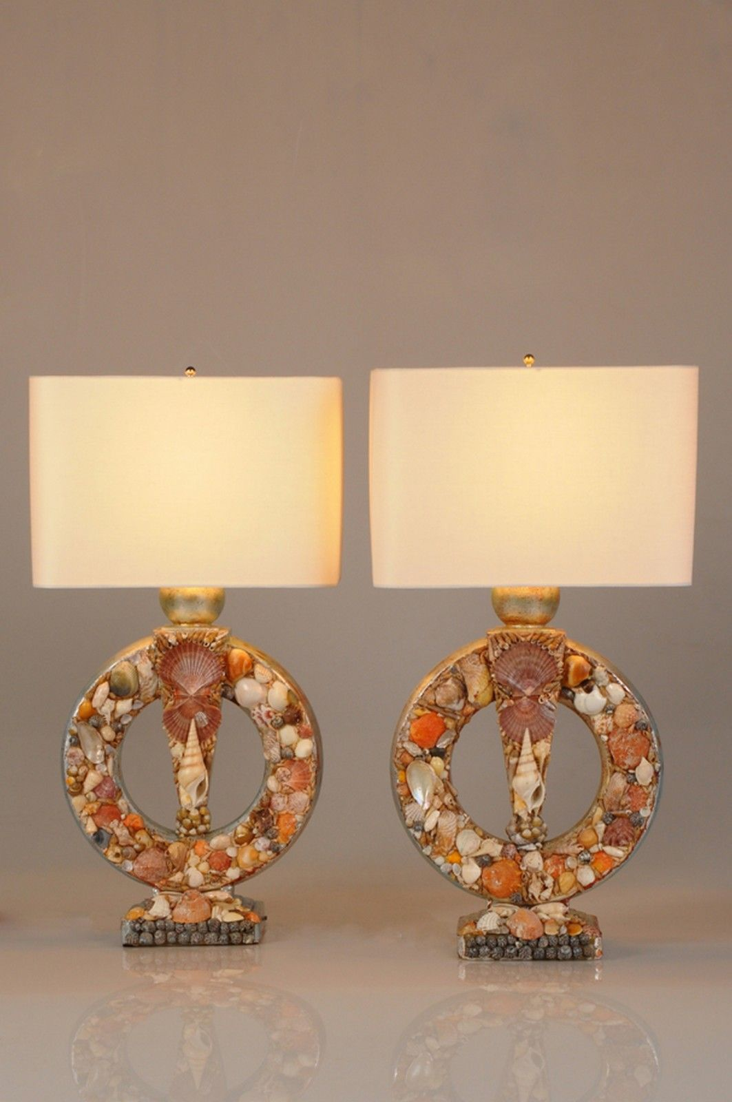 Seashell Filled Lamps Sea Shell Decor Vintage Lamps Seashells Lamp
