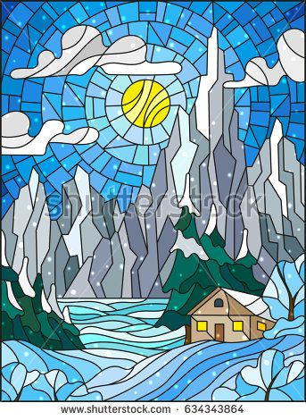 Illustration In Stained Glass Style With A Lonely House On A