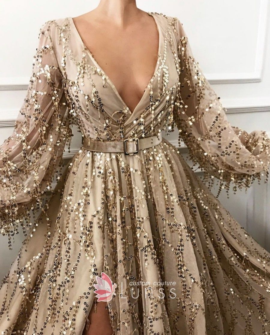 Mojave Gold Sequin Embroidered Tulle V-neck Evening Ball Gown with