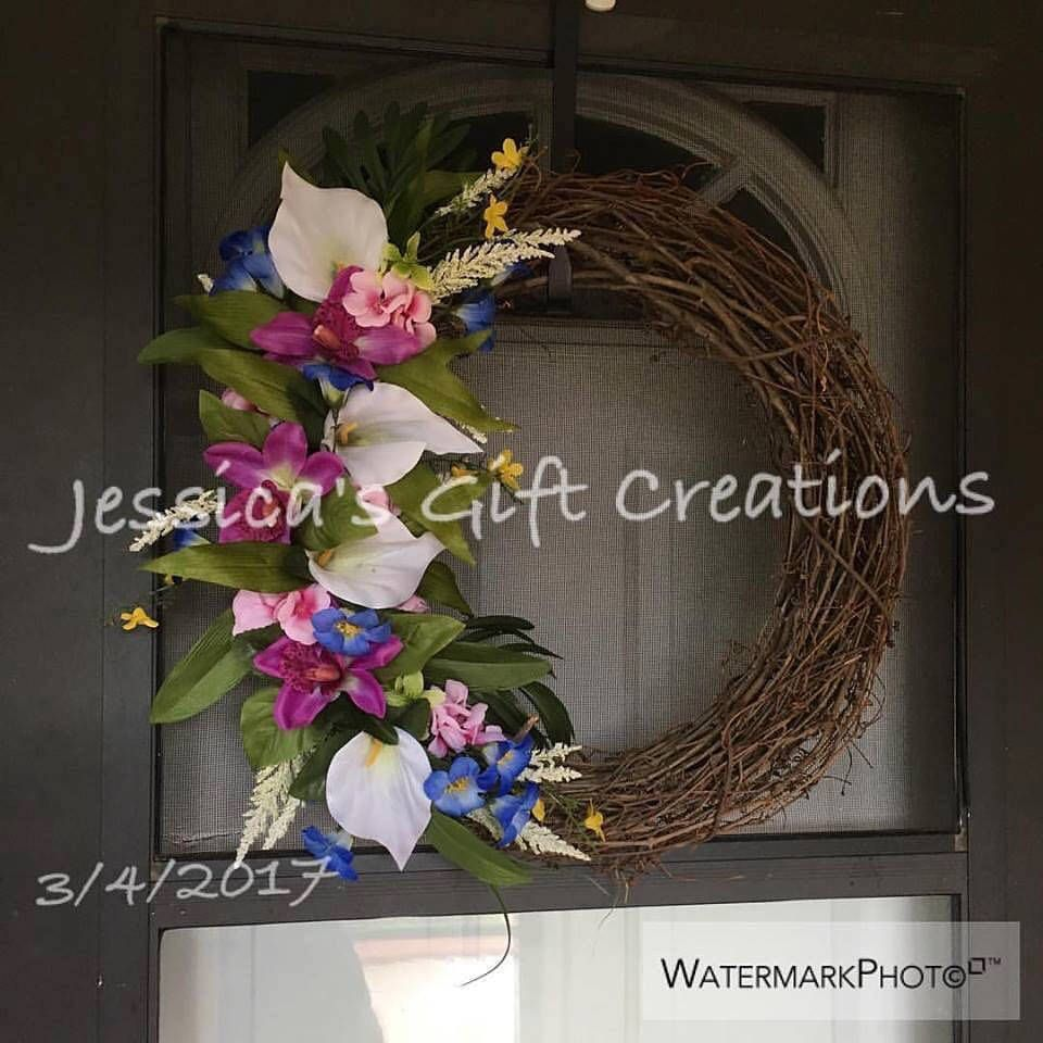Made to order easter lilies grapevine wreathfront door wreath made to order easter lilies grapevine wreathfront door wreathseasonal decorholiday rubansaba