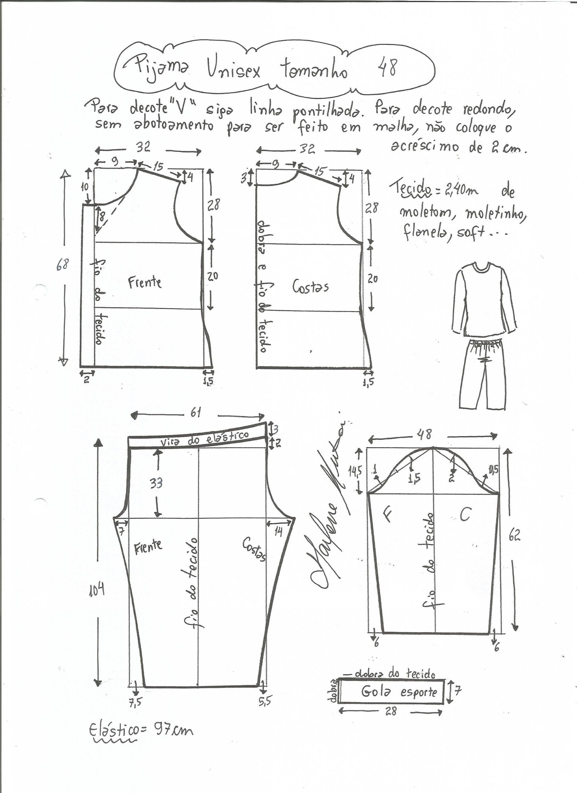 bf64d9235 Patrón para hacer un pijama unisex, osea que sirve tanto para hombre como  para mujer. Para hacer el pijama se puede utilizar tanto algodón como  franela o ...