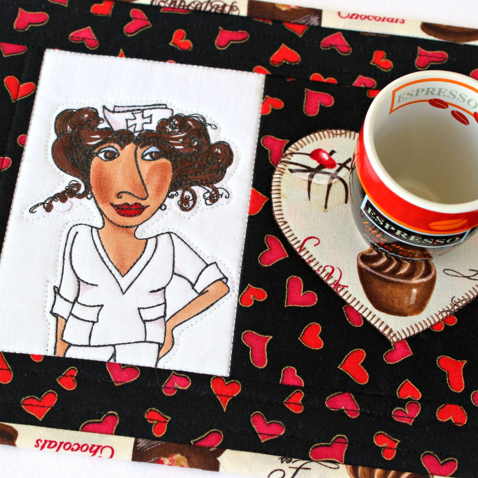 Quilted Mug Rug Black Nurse Snack Mat In 2020 Mug Rugs Quilted Wall Hangings Star Quilts