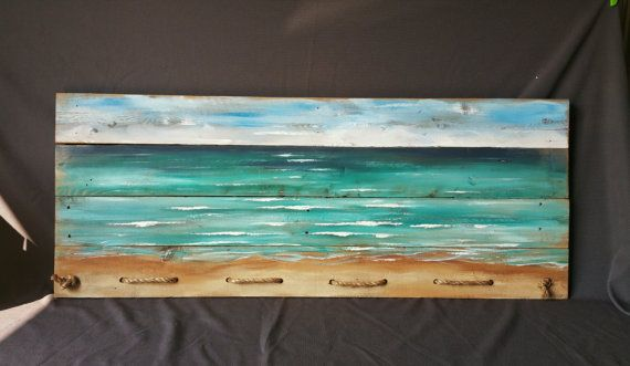 Extra Long Horizontal Upcycled Cedar Wood Art Beach Hand