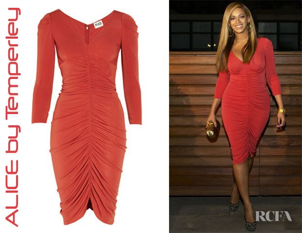 Photo of Beyonce's ALICE di Temperley Molina Ruched Jersey Dress – Red Carpet Fashion Awards
