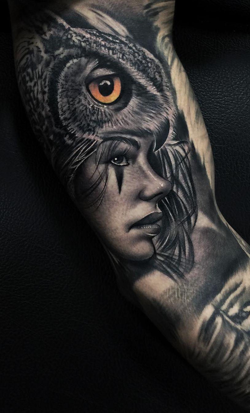 e844d95517e64 creative owl tattoo © tattoo studio Real Ink Tattoo Studio  📌💓🐥💓🐥💓🐥💓📌