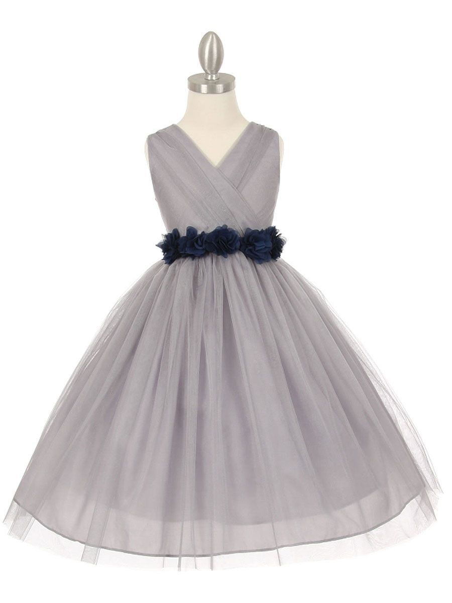 Gorgeous silver flower girl dress with chiffon flower belt wedding