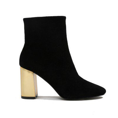 Orla Metallic Gold Heel Ankle Boots in Black Faux Suede  6f873e1a1b0