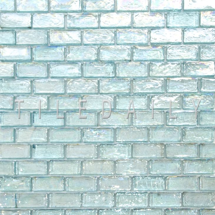 Aqua Iridescent Brick Glass Mosaic, Aqua Glass Tile Bathrooms