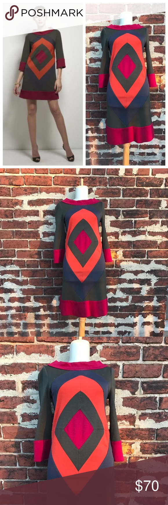 Diane von Furstenberg 2 Wool Ungaro Shift Dress You're looking at a beautiful, retro dress by Diane von Furstenberg.   Size 2   Wool