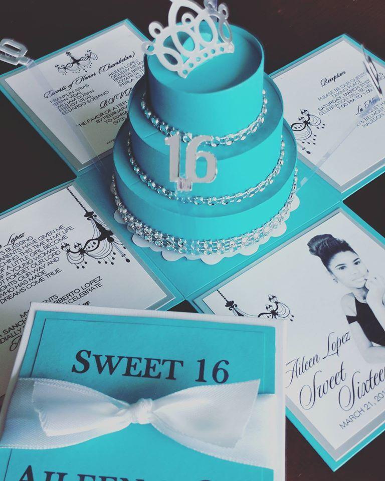 aileen tiffany exploding box invitations w round cake 15 anos