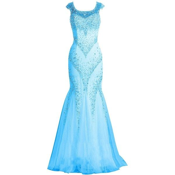 Tideclothes Tulle Long Prom Dress Mermaid Beaded Evening Dress Cap ...
