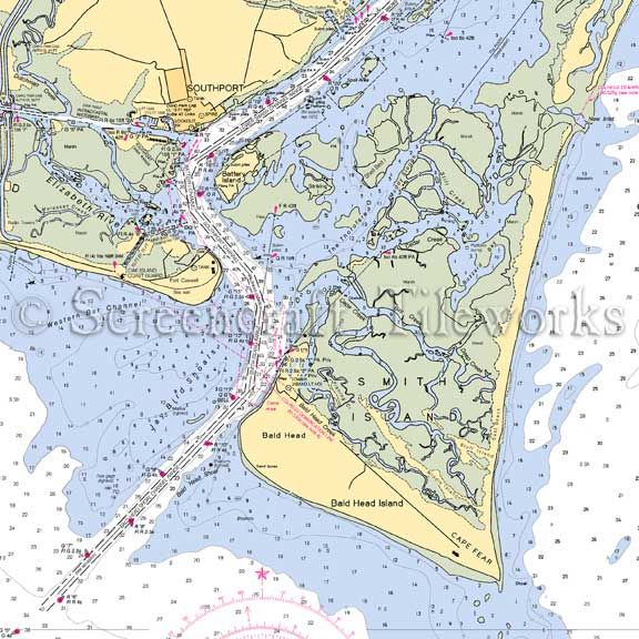 North Carolina Bald Head Cape Fear Southport Nautical Chart Decor Nautical Chart Decor Bald Heads Southport