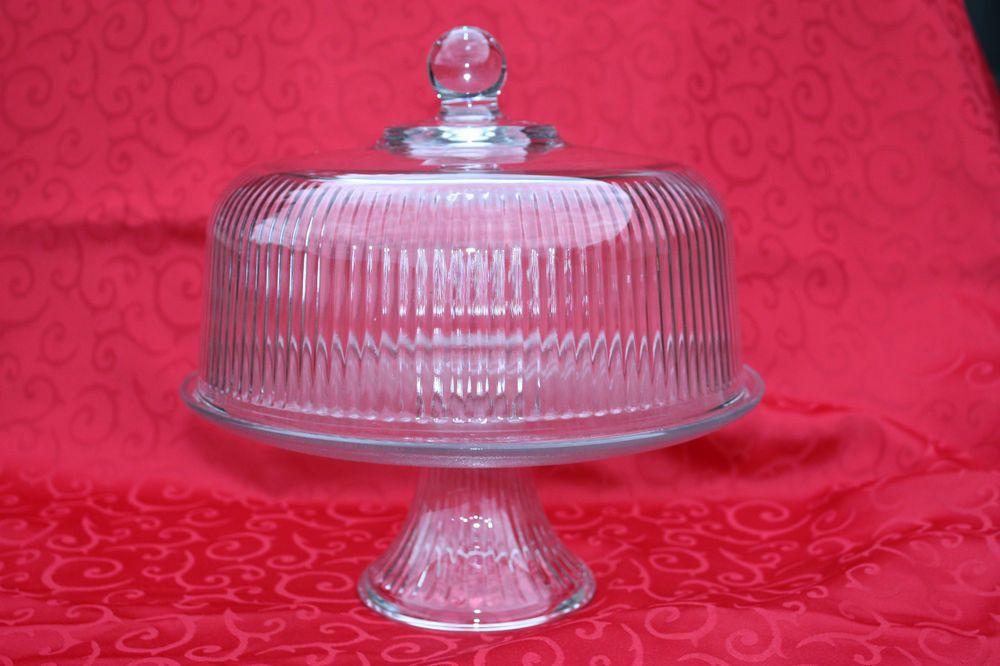 Details about pedestal cake stand w dome cover lid